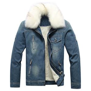Мужские искусственного меха воротник куртки джинсовой ткани с длинным рукавом Карманный Тонкий пальто Homme зима Zipper
