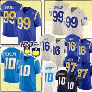Neue 99 Aaron Donald 16 Jared Goff LosAngelesRAM10 Jersey Justin Herbert 97 Joey Bosa LosAngelesLadegerätFußball