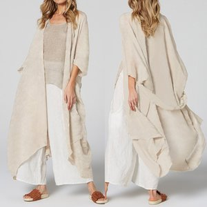 Celmia Women Long Blouses Loose Casual Kimono Cardigan Tops Belted Summer Beach Cover Up Shirts Thin Coats Blusas Plus Size 5XL Y200622