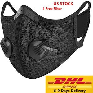 US STOCK Designer luxe à vélo masque facial avec filtre charbon actif PM2,5 Anti-pollution Sport Courir Formation Protection Masque anti-poussière