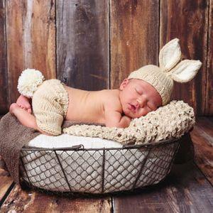 Nouveau-né Bébé Fille Garçon Lapin Crochet Knit Costume Prop Tenues Photographie photo
