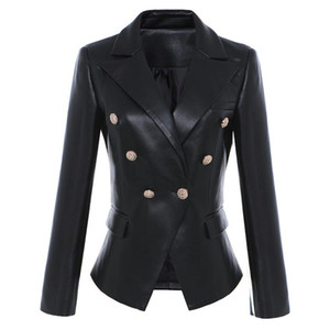 2020 Autumn winter Women PU Jacket Womens Clothes Black Leather Jacket Women Coat Jackets High Quality Double-breasted metal buckle w893