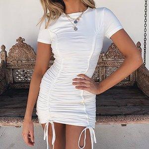 Лето 2020 Новое платье конструктора женщин Вечерняя Tight Мини-юбка Sexy High щелевая Pleat Crew Neck Drawstring Нерегулярное Короткие юбки для выпускного вечера