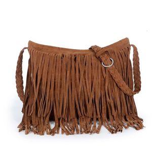 Горячая продажа женщин кисточкой Fringe замша плечо сумка дамы Crossbody Сумочка Кошелек Черный Коричневый Серый