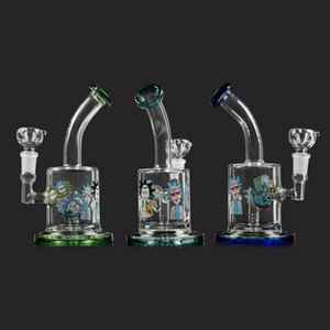 Wholesale Lovely 14mm Female Glass Bong Dab Rig Rick With Clear 14mm Male Glass Bowl For Water Pipe Bong