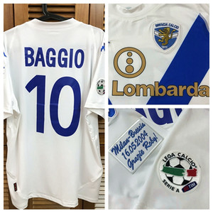 RUGBY Brescia 03/04 Serie A Camisa ausente Jersey mangas curtas Futebol Rugby BAGGIO Farewell Sponsors patches personalizados