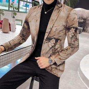 Benzersiz Slim Et dökün Hommes Boutonnage de Blazer Avrupa Masculino Britannique Hommes Tarzı Mariage de Blazer Luxe Vestes Tatlı ANBPD