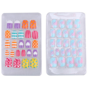2 Boxes Nail Sticker Set Lovely Fake Nails Self-adhesive Artificial Nail for Kids Little Girls (Assorted Color)