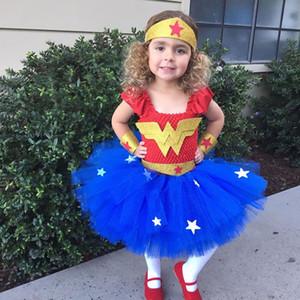 Cadılar Bayramı Wonder Woman Kostüm İçin Bebek Kız Giydirme Elbise Noel Çocuk Kamuflaj Yukarı Karikatür Dantel TUTU Etek Kid Sling Cosplay Frock 2