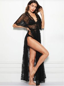 2019 New beach coat blouse long skirt sexy micro Underwear lace coat lace transparent sexy underwear M008