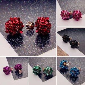 2020 Fashion Korean Lady's Gold Color Rhinestone Crystal Zircon Round Flower Ball Stud Earrings For Women Girls Gift Jewelry
