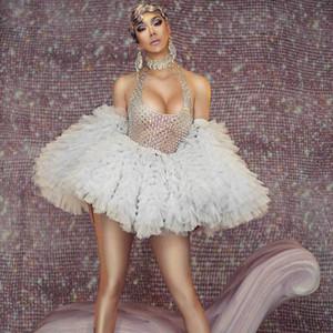 Dança Sexy Backless deslizamentos Strap luva Pedrinhas Mini vestido Mulheres Prom Discoteca DJ Cantor Palco Wear