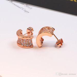 Semi-circle Ear stud with full CZ diamond Earring female women with original box set Free shipping