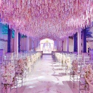 500pcs / lot cifrar la cadena 30cm artificial Wisteria flor del Hydrangea de la rota por la boda de prueba de casa DIY Decoración