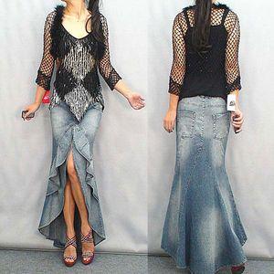Water Mill made old double flounder denim long hip-covered dovetail fishtail slimming fishtail skirt dovetail skirt