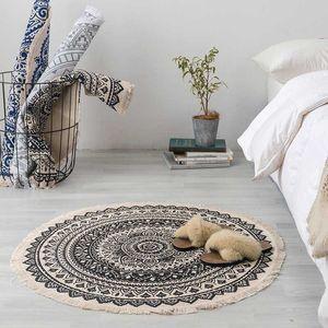 Runde Baumwolle Leinen Teppich für Wohnzimmer Kinderzimmer Nordic Schlafzimmer Vorleger Anti-Rutsch-Boden-Matte Eingang Fußmatte Home Decor