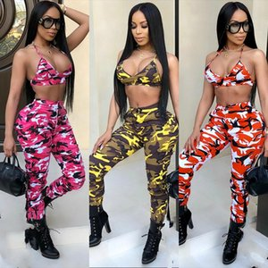 Women's Sexy Camo Print Bra and Pant Suits Halter Crop Top and Long Pencil Pant Button Zipper Pockets Sports Tracksuit Club 2Pc Pant Set
