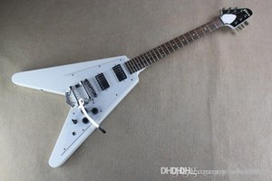 Top Quality guitar with Tremolo Standard Dot Inlay GBS Flying V White Electric Guitar