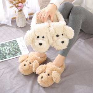 Fur Dog Slippers New 2019 High Quality Cute Cartoon Animal Women Winter Warm Plush Home Fluffy Slides Cotton House Shoes Y200706
