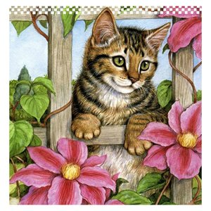 Cat Flower Fence Full Drill 5D Diamond Round Rhinestone Embroidery Painting DIY Cross Stitch Kit Mosaic Draw Home Decor Art Craft Gift