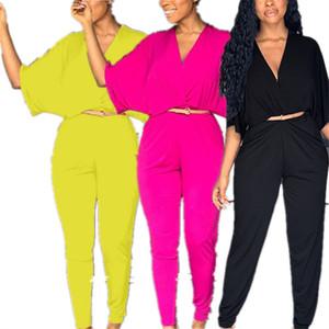 INS Kadınlar Jumpsuit Yarım Batwing Sleeve V yaka tulum Yüksek bel pantolon Tulumlar Katı Renk Tek parça Bodysuit Casual Tasarım Romper Kıyafetler