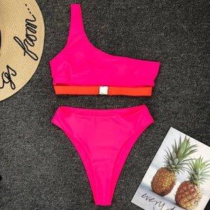 Vintage High Waist Bikini 2020 Neon Hot Pink One Shoulder Solid Push Up Solid Swimsuit Bather Brazilian Bathing Suit Buckle Biquini