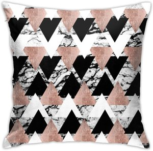 N A Home Gift Pillow Sofa Cushion Black White Rose Gold Triangles On Marble Bandana Couple party decoration 18X18inch(45CMX45CM)