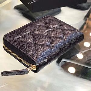 2020 패션 여성의 진짜 가죽 캐비어 지퍼 지갑 블랙 양가죽 카드 홀더 작은 지갑 카드 지갑 지갑