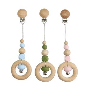 Tops quality Baby Wood Bead Pacifier Chain Clips Baby Gracious Pacifier Holder Newborn Teether Bead Chains Feeding Kids Gifts Toys B1745
