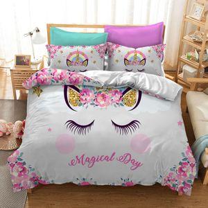 BEST.WENSD Оптовая качество Cute Unicorn кровать одеяло Colorfast набор детей принцессы постельные принадлежности Розовый лоскутного beding взрослых Сигле кровать