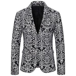Men's Blazer Jacket New Fashion Printing Casual Vintage Turn-down Collar Long Sleeve Print Suit Lapel Slim Fit Stylish Suit Coat
