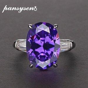 Kadınlar Moda Takı Aksesuar 3oQ3 # için PANSYSEN Güzel Yıldönümü Ametist Yüzük 925 Gümüş Oval Yakut Zümrüt Parmak Yüzük
