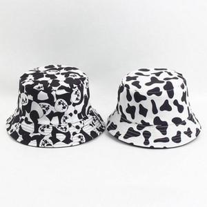 Sıcak Milch İnek Baskı balıkçı şapka Kadın çifte Kepçe şapka Bayram erkekler Hayvan tasarım panda şapka Parti Şapkası 3 tarzı T2C5254