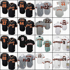 Giant Throwback Matt Williams Barry Bonds Willie Mays Will Clark Willie McCovey Juan Marichal Jersey Men Mitchell And Ness San Francisco 07