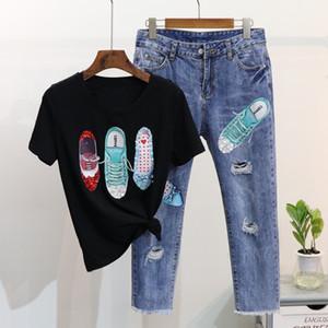 Verão Mulheres Moda Shoes Padrão Curto T-shirt de manga + quebrado Buraco Jeans terno da menina Estudantes Suit 2 Piece