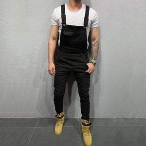 Kenntrice Hombres Casual Mono mameluco 2020 pantalones vaqueros negros Streetwear Moda sólido ligas del color de los hombres del dril de algodón