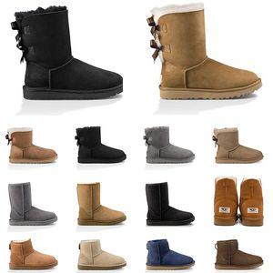 2020 여성 스노우 부츠 호주 클래식 무릎 부츠 밤나무 발목 부츠 블랙 그레이 네이비 블루 핑크 여자 여자 신발 크기 5-10