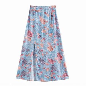 M5676- women's wear 2020 M5676 style skirt women's dress new holiday style high waist flower printing split skirt