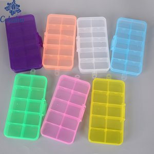 10 Slots Clear Plastic Storage Box Case Jewelry Makeup Bead Organizer For Home Room Box