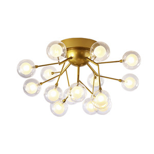 OOVOV Firefly Ceiling Light Gold Iron Glass Ball Ceiling Lighting Bubble Ball Lamp Simple Lamps for Bedroom Kids Room Dining Room G4