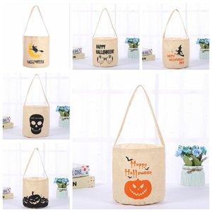 Хранение Корзинка Хэллоуин Корзина Тыква Маскарад PartyCanvas сумка череп печать сумка для хранения Складного Carrier Tote детям конфеты Емкости DHD402