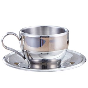 160ml Stainless Steel Coffee Tea Set Double Layer Coffee Cup Mugs Espresso Mug Milk Cups With Dish And Spoon new GGA2646