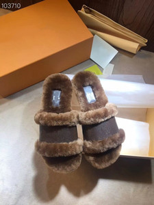 New Lock it Wohnung Mule Frauen Pantoffeln Treiber Sandalen Slides Cognac Brown Weichheit Turnschuhe flauschigen Fell Slipper aus echtem Leder Schuhe mit Kasten