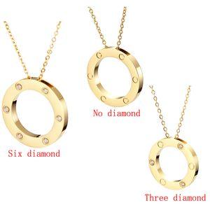 2020 collar colgante AMOR doble círculo Hermosa joyería de la cadena de acero inoxidable colgante de collar con juego de bolsa