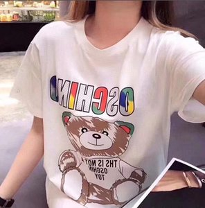2020 The new Summer women's Pure cotton short sleeves fashion Printed loose-fitting Black and white t-shirts luxury t-shirts (in stock)