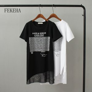 FEKEHA Summer Long T shirt Women Letter Black White T-shirt Sexy Short Sleeve Thin Women Cotton Tops Tees Female Tshirt MX200721