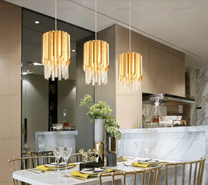 Modern small round gold crystal chandelier lighting for kitchen dining room bedroom bedside light luxury k9 led pendant lamps LLFA