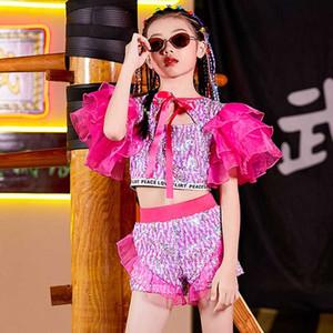 Ragazze dei capretti Danza Jazz Visualizza costume paillettes vestito di Hip Hop bambini festa di compleanno Palcoscenico Outfit Ballroom Dance Clothes Wear