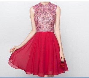 Grade Graduation Dresses Vestido De Formatura Curto 2019 Luxury Crystals Short Chiffon Homecoming Dresses with Backless