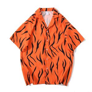 Feuillettent-down rue Vintage T-shirt homme col chemise hawaïenne d'été pour homme Chemises